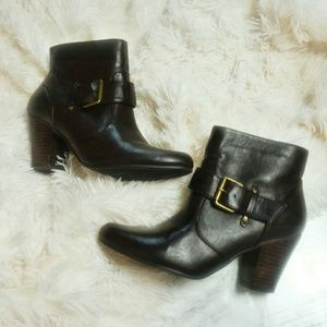 Nine West Dark Brown Besame Heeled Ankle Boots